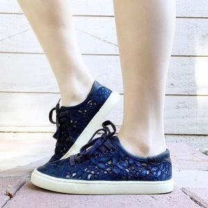 Tory Burch Sneakers Rhea Blue Embroidered Leather
